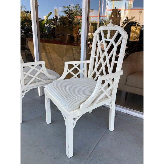 1970s Vintage Palm Beach Regency Chinoiserie Pagoda Arm Chairs- A Pair For Sale - Image 9 of 10