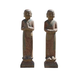 Pair Chinese Stone Carved Standing Monk Lohon Statues
