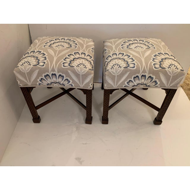 Vintage Benches With Carved Mahogany Bases and Crewel Upholstery -A Pair For Sale - Image 11 of 11
