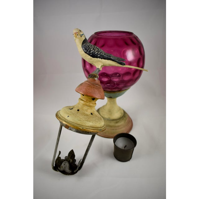 Traditional 19th Century Cast Iron & Cranberry Glass Garden Candle Light Holder with a Bird Finial For Sale - Image 3 of 11