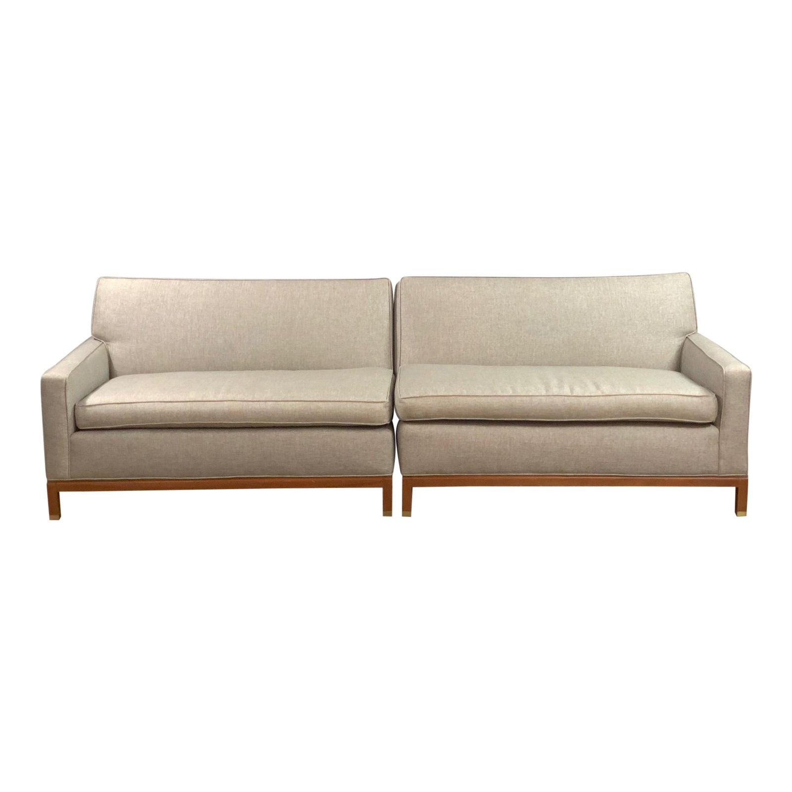 Mid Century Modern Milo Baughman Style Sectional Sofa- 2 Pieces ...