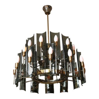 1950s Mid-Century Fontana Arte Curved Smoked Glass Chandelier For Sale
