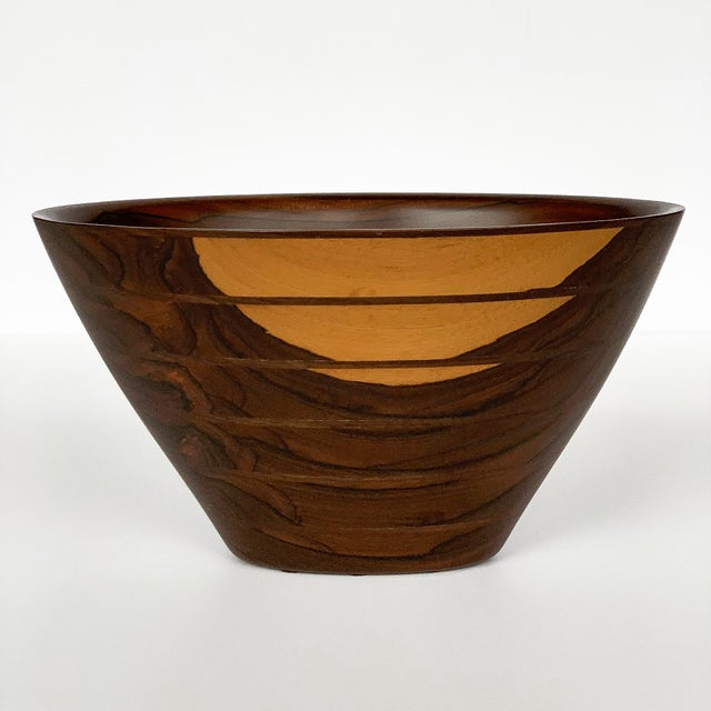 Danish Modern Peter Petrochko Carved Padauk and Ziricote Wood Bowl For Sale - Image 3 of 13