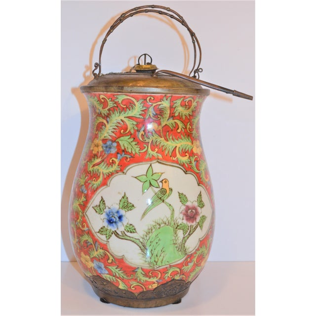 1990s John-Richard Red Chinoiserie Porcelain and Brass Urn For Sale - Image 5 of 10