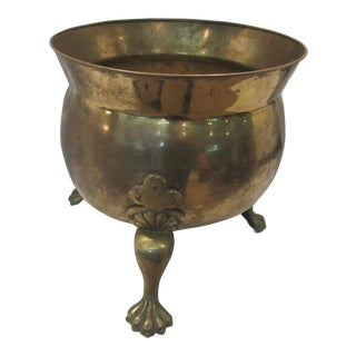 Olde English Brass Cauldron With Clawed Feet For Sale