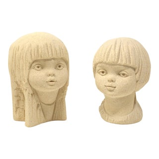 Vintage Girl and Boy Head Sculptures by StoneArt Belgium - Set of 2 For Sale