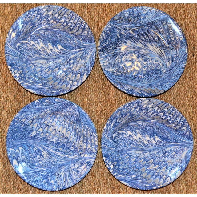 Delft Blue Firenze Marbleized Ceramic Cocktail Plates - Set of 4 For Sale In Houston - Image 6 of 10