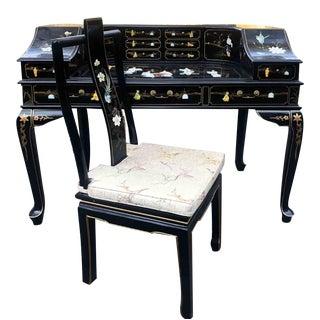 Vintage Chinoiserie Carlton House Desk & Chair Set - 2 Pieces For Sale