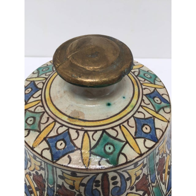 Islamic Moroccan Ceramic Glazed Storage Tureen Jar with Cover Handcrafted in Fez, Morocco For Sale - Image 3 of 7