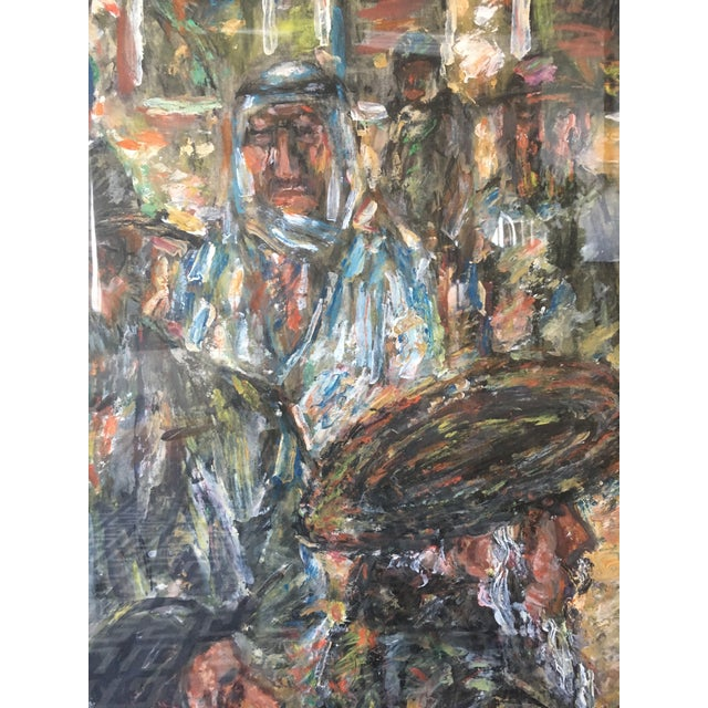 Rare vintage abstract Mathias Barz oil painting depicting crowds. Amazing Vintage Find Wonderful Mid Century Painting From...
