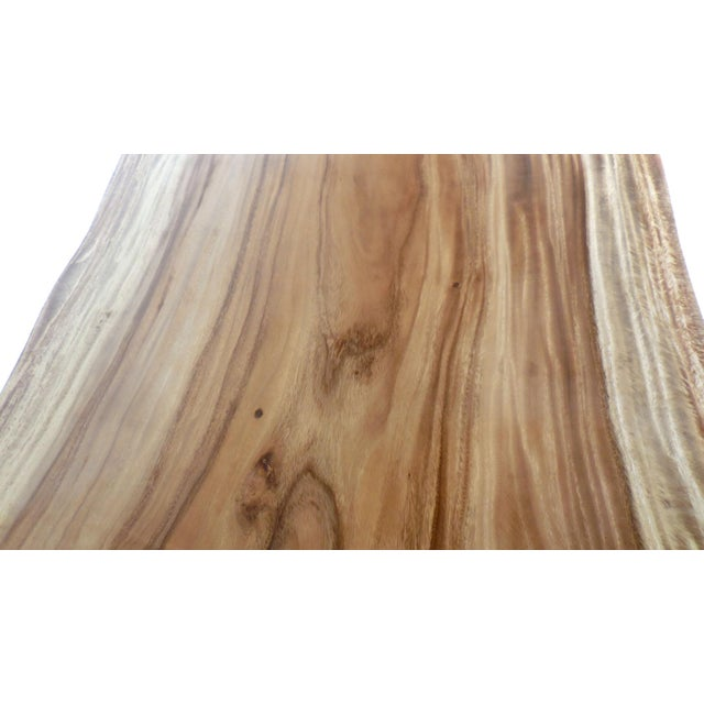 White Long Live Edge Organic Modern Albezia Table For Sale - Image 8 of 11
