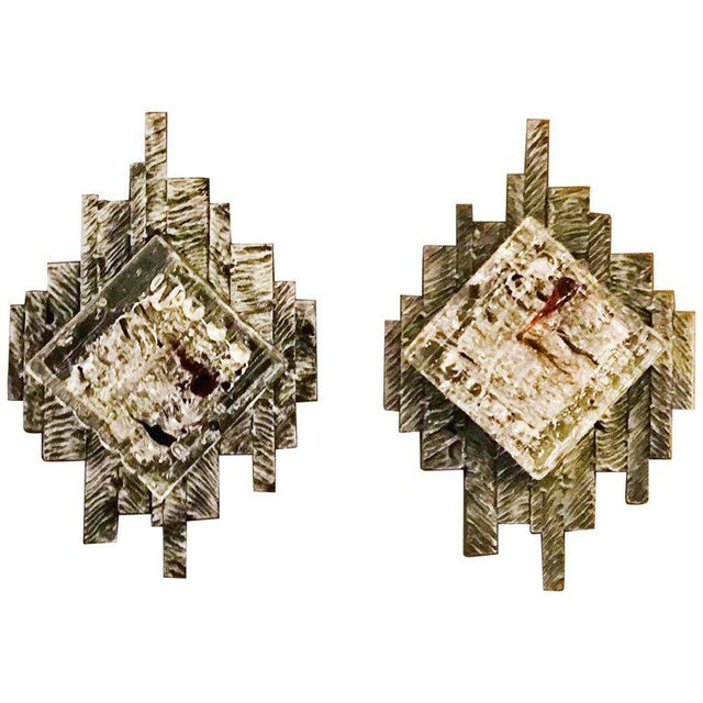 Brutalist Murano Sconces / Flush Mounts - a Pair For Sale - Image 9 of 9