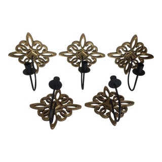 Mid Century Gold Syroco Wood Medallion Candle Wall Sconces - Set of 5 For Sale