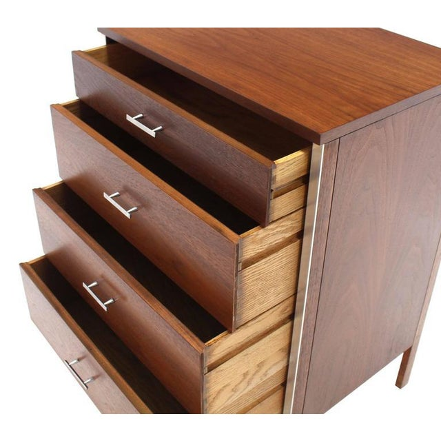 Metal Four Drawers Small Petit Narrow Bachelor Chest For Sale - Image 7 of 10