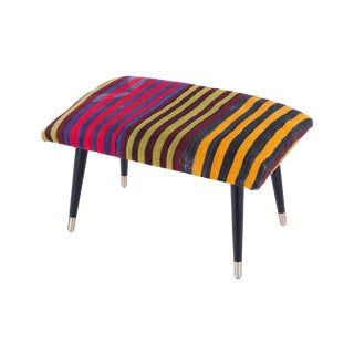 Pasargad Home Bosphorus Collection Striped Kilim Cover Ottoman For Sale