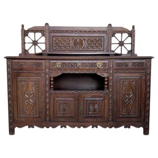 19th Spanish Carved Walnut Cupboard, Buffet With Cres For Sale