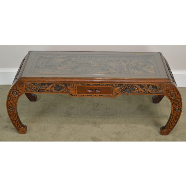 Traditional Vintage Oriental Asian Hand Carved Hardwood Coffee Table For Sale - Image 3 of 13