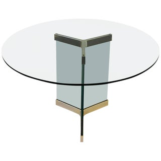 Polished Brass and Glass Dining Table by Leon Rosen for Pace Collection