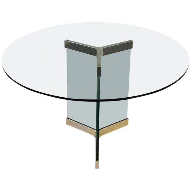 Polished Brass and Glass Dining Table by Leon Rosen for Pace Collection For Sale