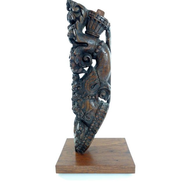 Vintage Indian Carving on Wood Stand - Image 1 of 6