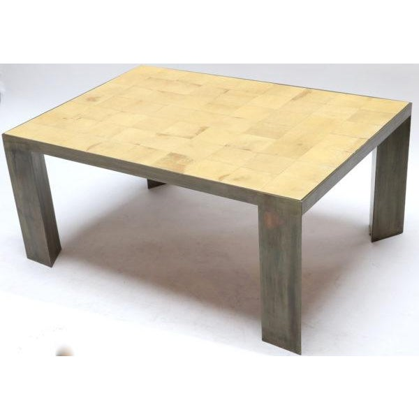 Mid-Century Modern Parchment and Metal Coffee Table For Sale - Image 3 of 6