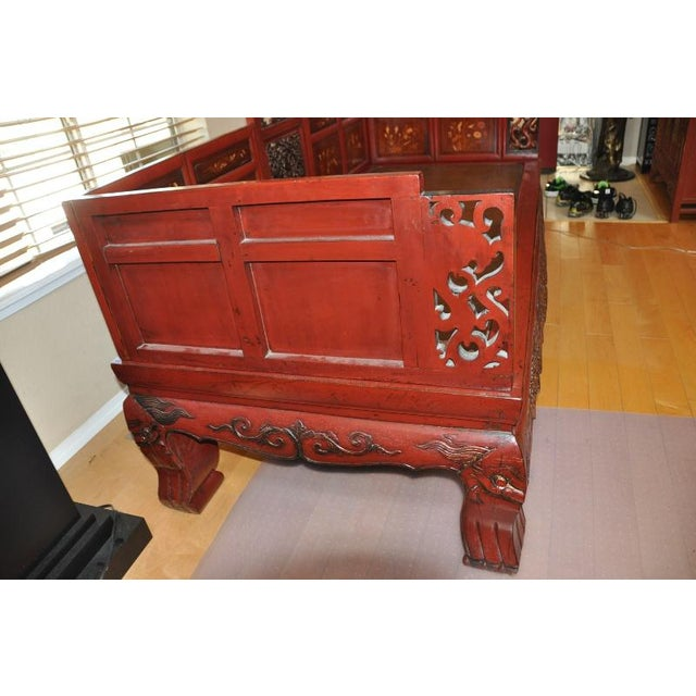 Antique Qing Dynasty Gilt Decorated Red Lacquered Opium Bed With Inlaid Panels For Sale - Image 11 of 11