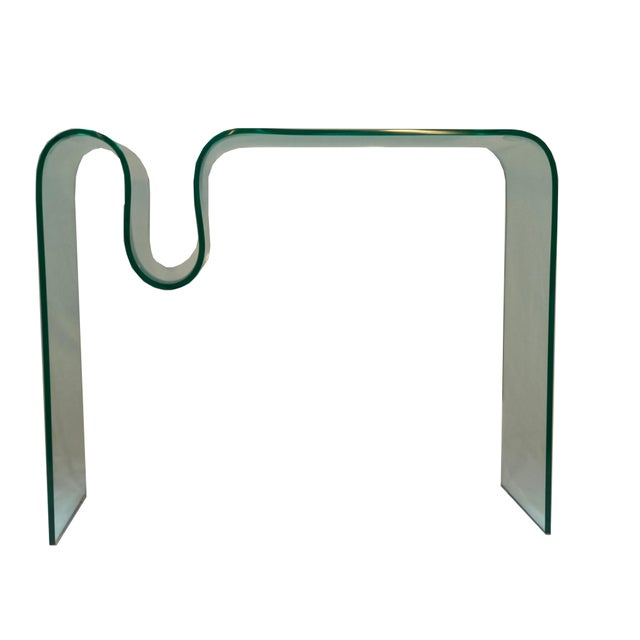 Mid-Century Modern Solid Bent Glass Console Table For Sale - Image 3 of 10