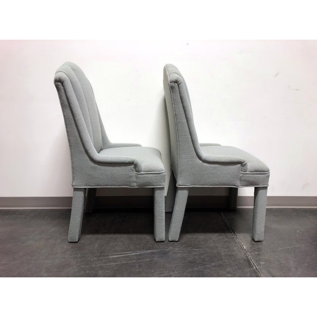 Contemporary High-End Grey Channel Back Parsons Chairs - Pair 3 For Sale - Image 3 of 12