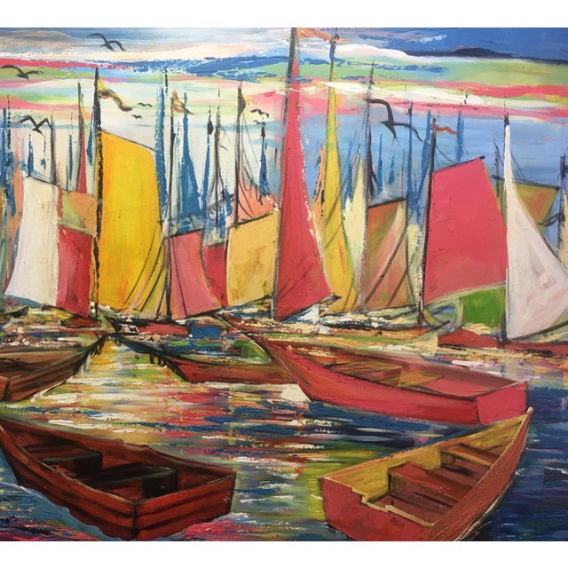 """André Derain Huge Original Joseph Friedrich Modern Fauvism Expressionist Painting Sailboats in Port O/C - 40"""" X 50"""" For Sale - Image 4 of 13"""
