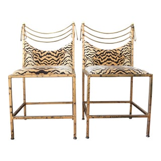 Gilded Tiger Print Side Chairs - A Pair