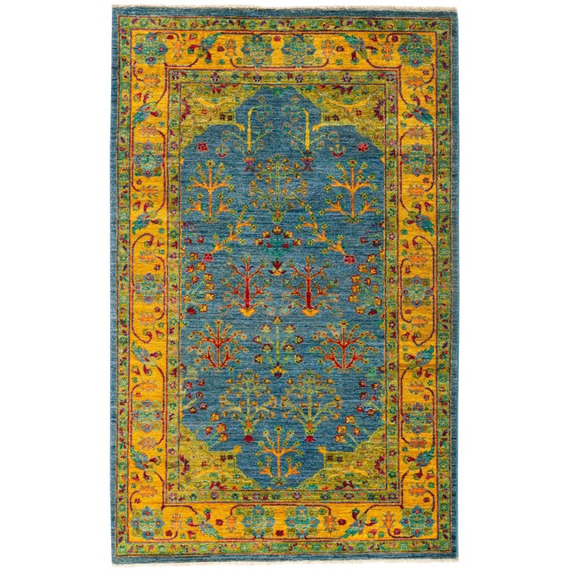 """New Blue Hand-Knotted Rug - 4'1"""" X 6'7"""" - Image 1 of 3"""