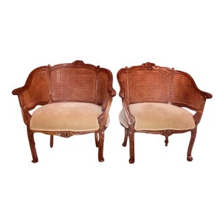 Vintage Walnut & Barrel Cane Back Side Chairs - A Pair For Sale