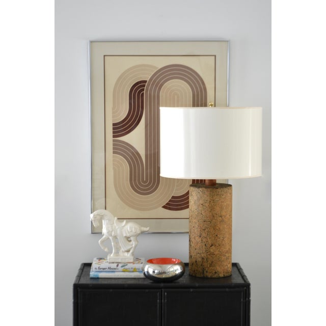 Mid-Century Cylindrical Form Cork Table Lamp For Sale - Image 10 of 11