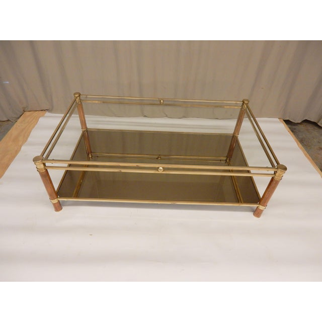 Mid-Century Glass, Mirror, Brass and Wood Coffee Table For Sale - Image 9 of 9
