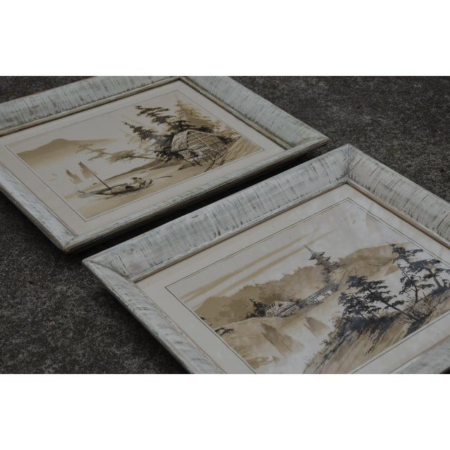 Vintage Mid-Century James Bunnell Chinoiserie Ink Prints - A Pair For Sale - Image 9 of 13