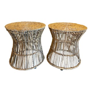 Vintage Tropical Palm Beach Rattan & Seagrass Stools Benches Ottomans -A Pair For Sale