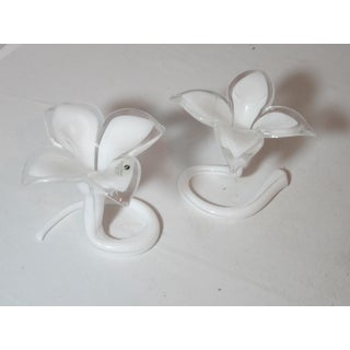 White Murano Lilly Candle Holders - Set of 2 Preview