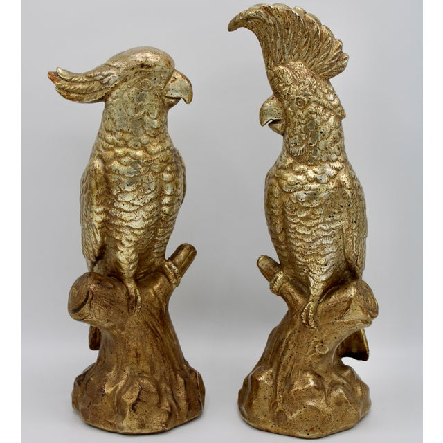 Extra Large Golden Gilt Italian Ceramic Cockatoo Parrot Figurines - a Pair For Sale - Image 13 of 13