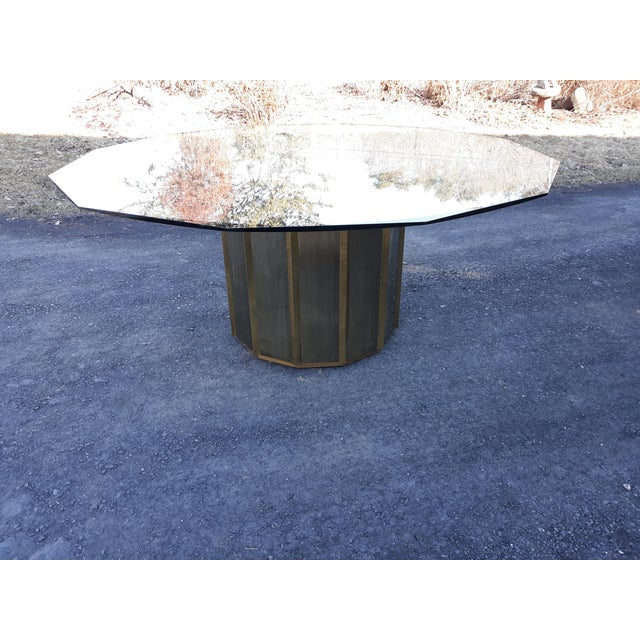 Mastercraft Brass Octagonal Shape Faceted Dining Table For Sale - Image 13 of 13
