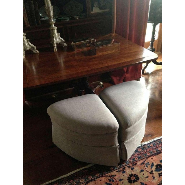 Upholstered Crescent Shape Ottomans on Casters - A Pair For Sale In Savannah - Image 6 of 7