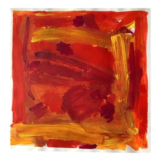 Fiery Abstract Oil on Paper Painting For Sale