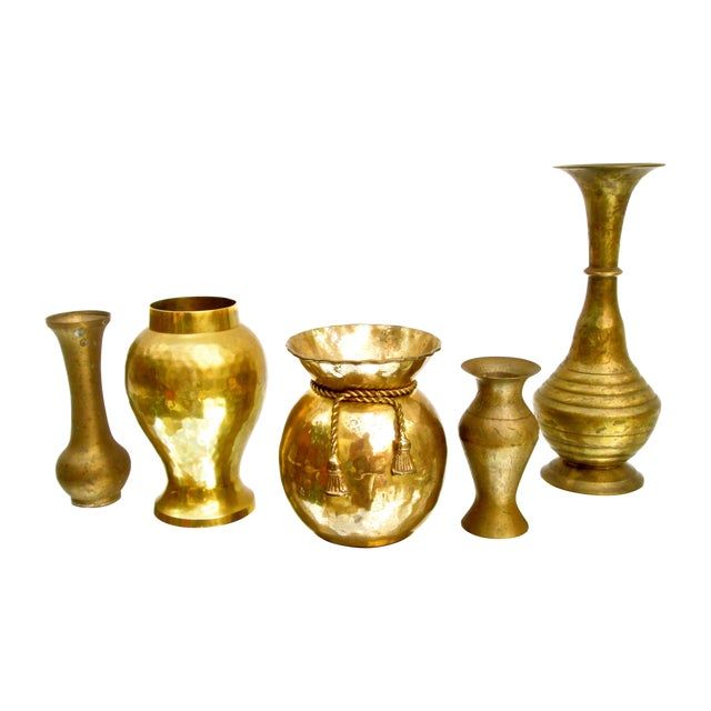 Vintage Brass Bud Vases - Set of 5 For Sale