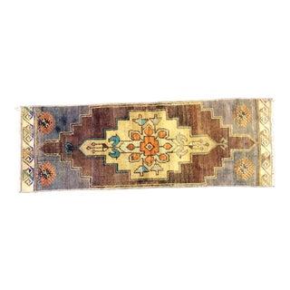 Vintage Traditional Turkish Anatolian Yellow and Brown Small Rug For Sale