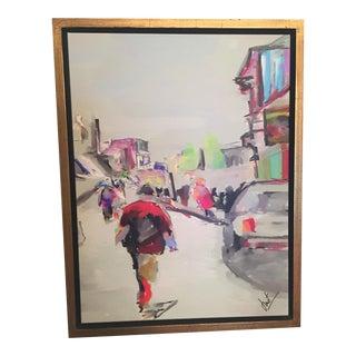 1970s Vintage Street Scene Original Signed Painting For Sale