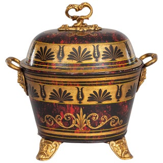 Antique Regency Toleware Coal Scuttle For Sale