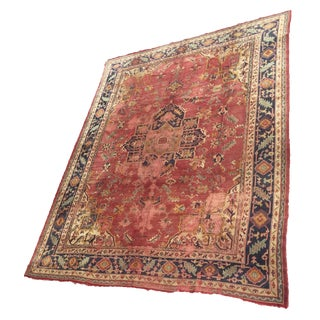 Early 20th Century Antique Anatolian Oushak Rug - 9'1'' X 11'2'' For Sale