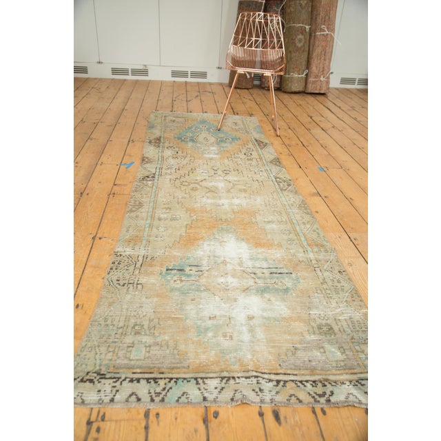 "Vintage Distressed Oushak Rug Runner - 3'2"" X 9'2"" - Image 10 of 11"