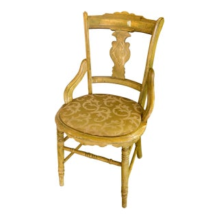 1960s Cottage Gold and Yellow Side Chair