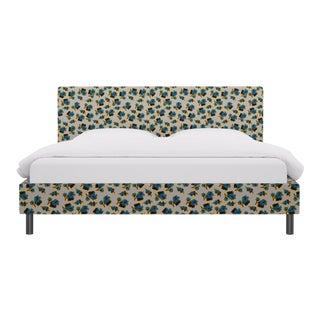 King Tailored Platform Bed in Acid Floral For Sale