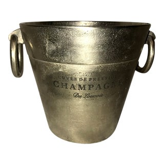Restoration Hardware Style Cast Metal Champagne O Rings Bucket For Sale